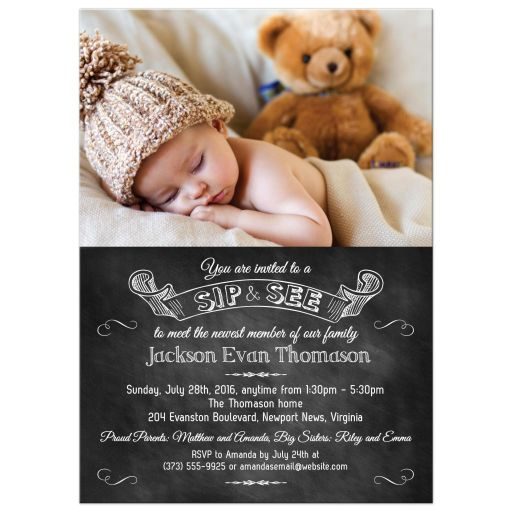 Chalkboard Baby Photo Sip and See Invitation