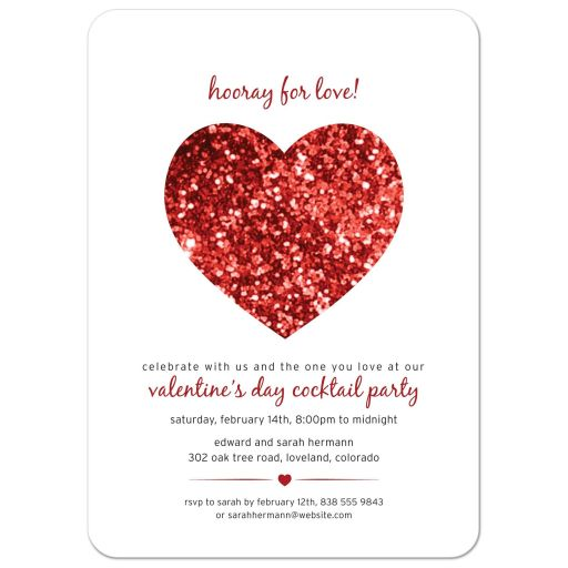 Party Invitation - Red Glitter Heart Valentine's Day
