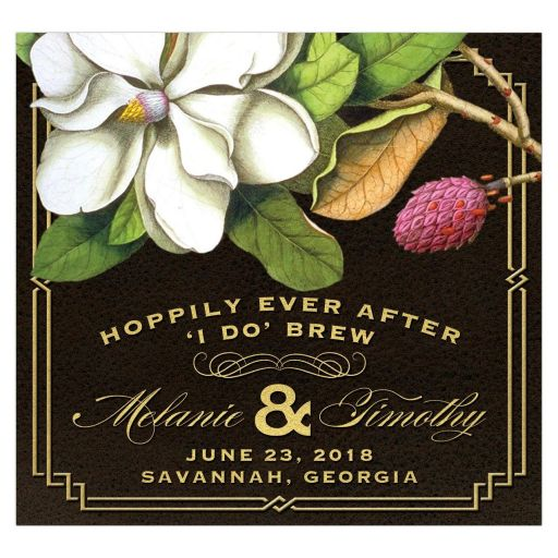 Elegant Vintage Southern Magnolia Beer Bottle Label