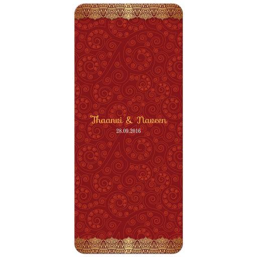 Wedding Menu Card - Crimson Indian Paisley Golden Gilded Edge