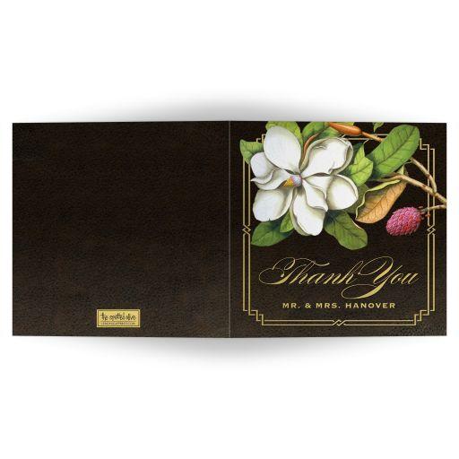 Elegant Vintage Southern Magnolia Thank You Cards