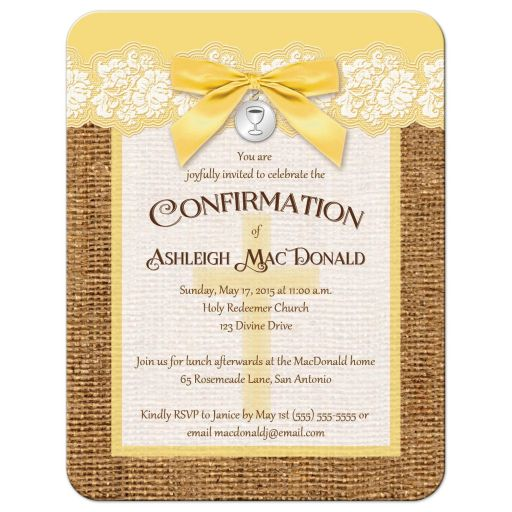 rustic burlap confirmation invitation in yellow and ivory lace