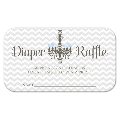 Gray chevron and chandelier diaper raffle cards