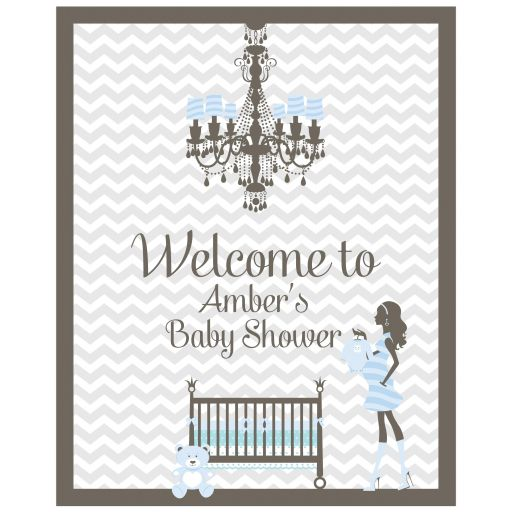 Gray chevron baby shower welcome sign