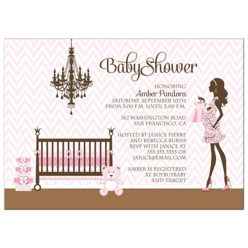 Pink and brown girl nursery baby shower invites