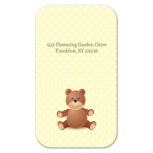 Business Card - Yellow Polka Dot Bear Mommy Mummy Calling Card