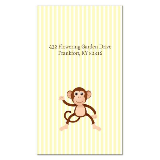Business Card - Yellow Stripe Monkey Mommy Daddy Calling Card
