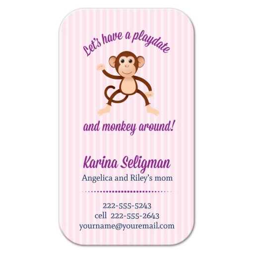 Business Card - Pink Stripe Monkey Mommy Daddy Calling Card