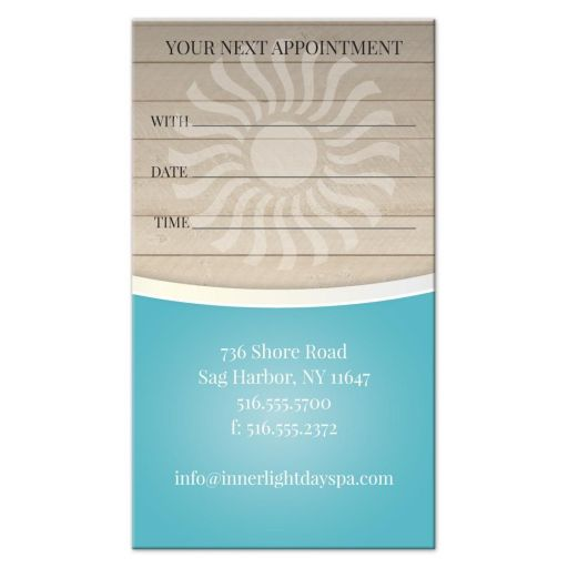 Business Card - Massage Stones Wood Spa Blue Appointment Card