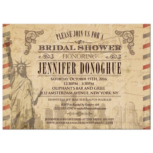 Bridal Shower invitation - Vintage New York City Airmail