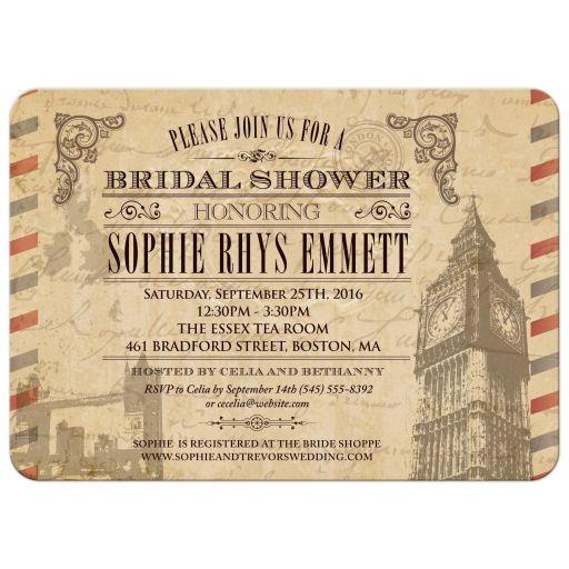 Bridal Wedding Shower invitation - Vintage London UK Airmail