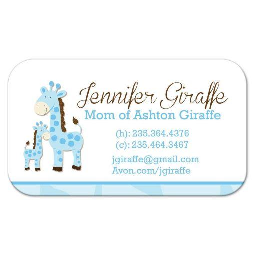 Blue Giraffe Mommy Daddy Contact Card