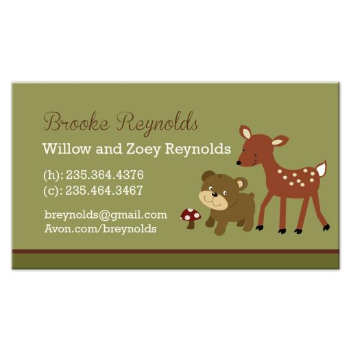 Woodland Deer and Bear Contact Card
