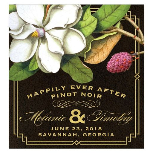 Elegant Vintage Southern Magnolia Wedding Wine Bottle Label