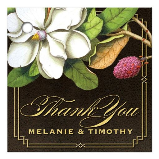 Elegant Vintage Southern Magnolia Wedding Favor Tags