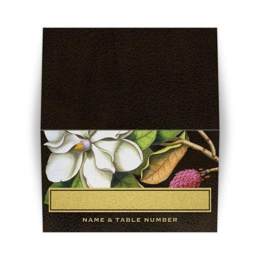 Elegant Vintage Southern Magnolia Folded Table Place Cards