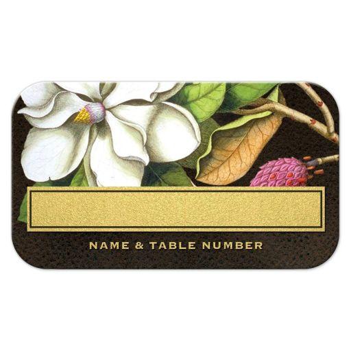 Elegant Vintage Southern Magnolia Flat Wedding Escort Cards