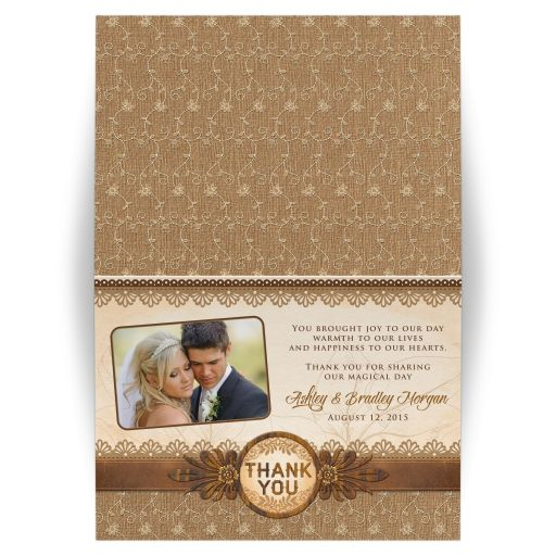 Elegant rustic burlap, lace, and wood photo wedding thank you card