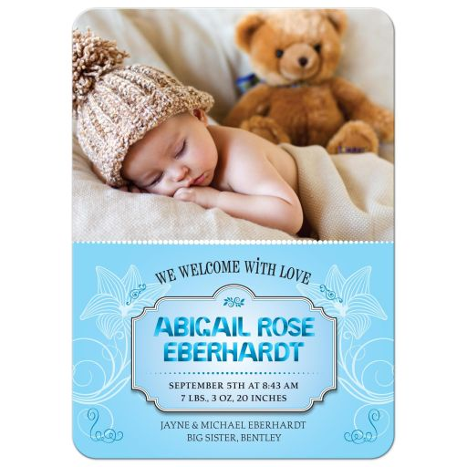 Baby Announcement - Sweet Blue Ribbon Letters Photo