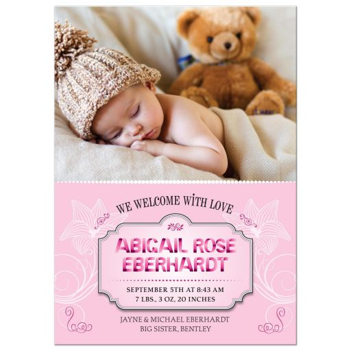 Baby Announcement - Sweet Pink Ribbon Letters Photo