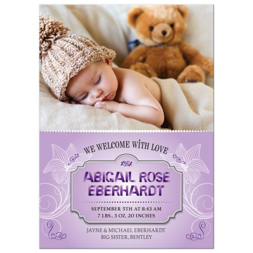 Baby Announcement - Sweet Purple Ribbon Letters Photo