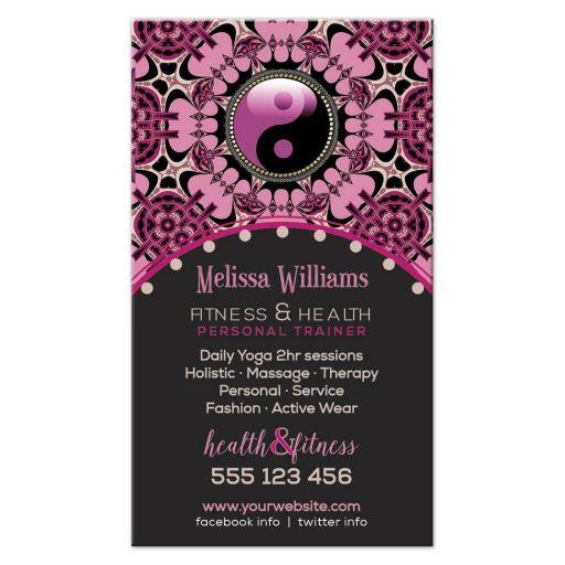 Pink Black Yin Yang Yoga Business Cards