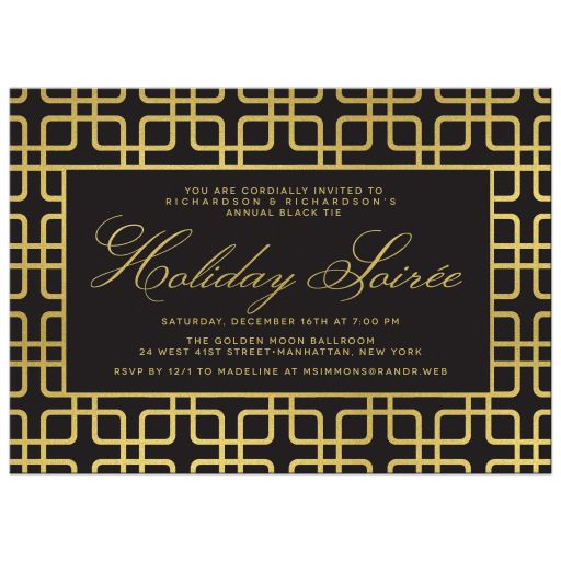 Black & Gold Geometric Corporate Holiday Party Invitations front