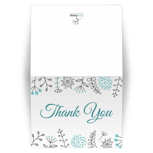 Aqua blue (turquoise) nature and flower element border thank you card