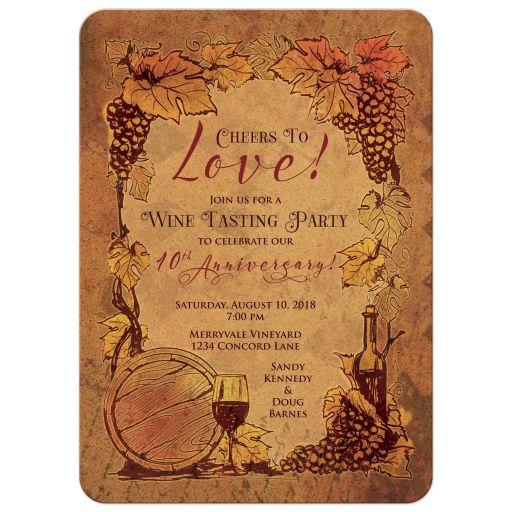 Rustic wine tasting vineyard wedding anniversary party invitation front