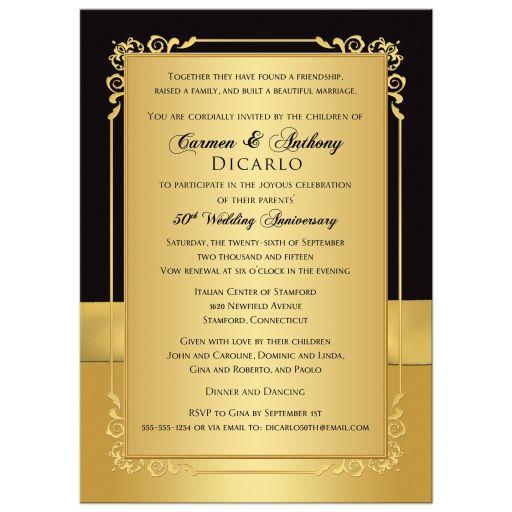 Monogrammed 50th Wedding Anniversary Invitation