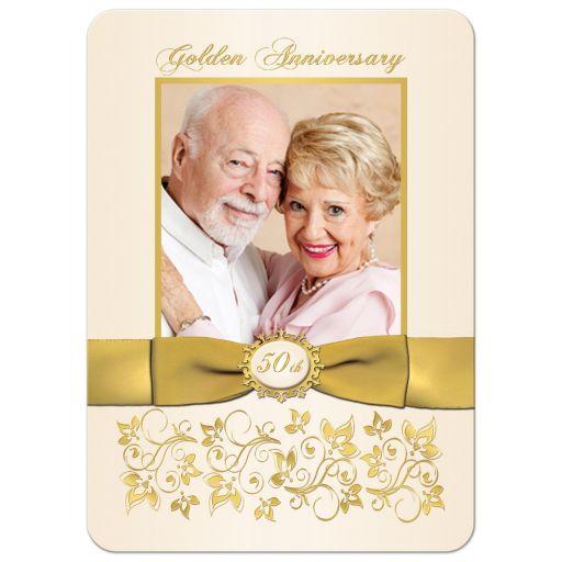 Best 50th Wedding Anniversary Invitation with Photo