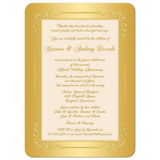 Great Golden Wedding Anniversary Invite