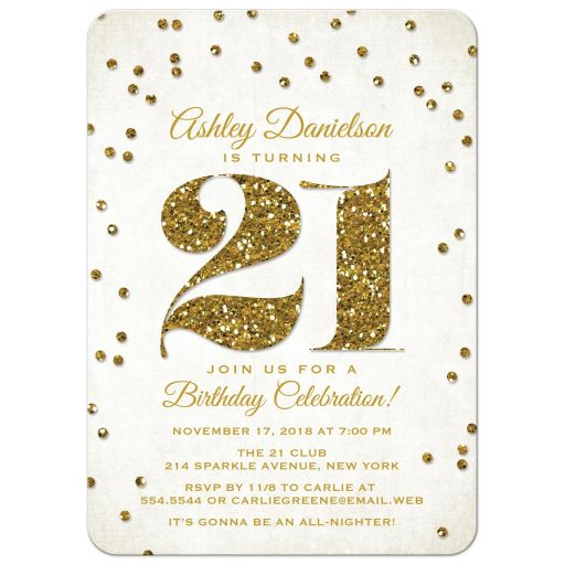 Gold Glitter Look 21st Birthday Party Invitation-front