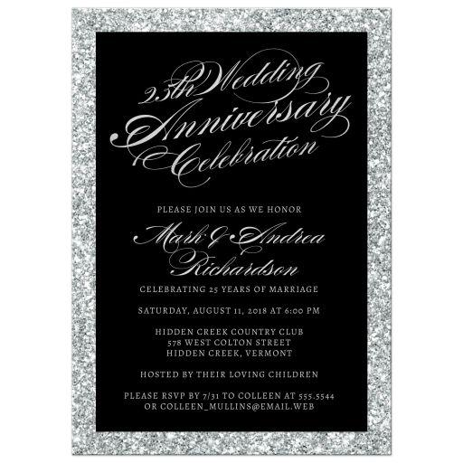 25th wedding anniversary party invitations silver sparkle