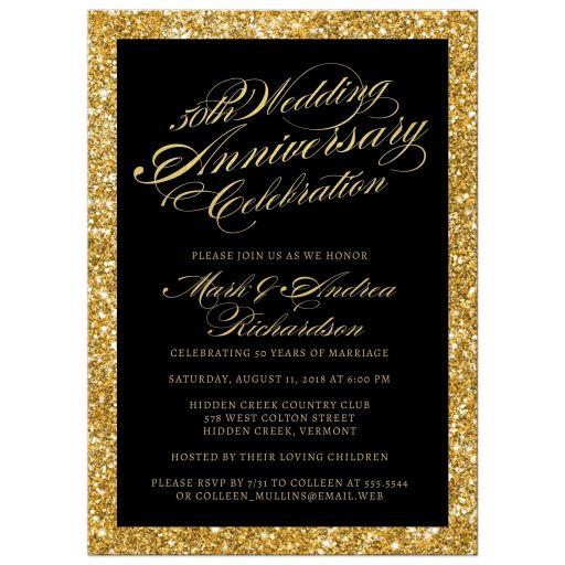 Gold Glitter Look 50th Wedding Anniversary Invitations front