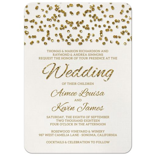 Glitter Look Wedding Invitations front