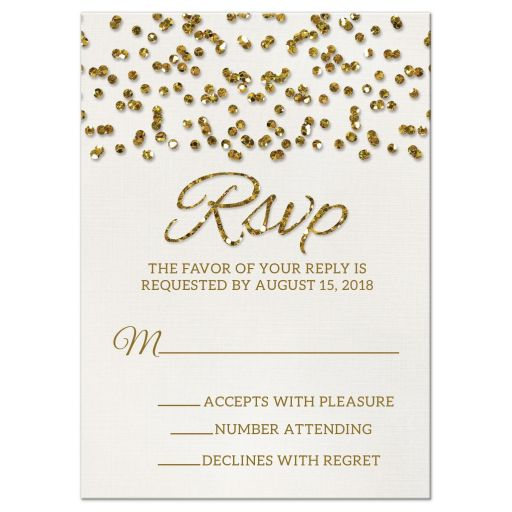 Glitter Look Wedding RSVP Cards front