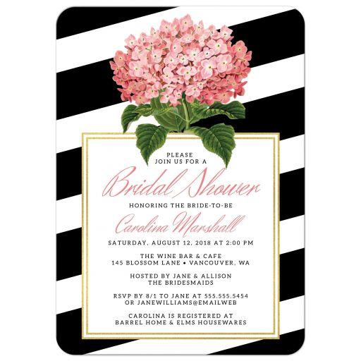 Modern Stripes & Hydrangea Bridal Shower Invitations front