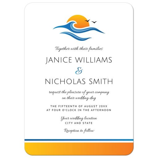 Tropical beach or destination wedding invitation with birds and wave in front of sunrise or sunset