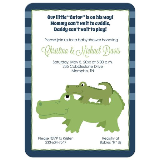 Nantucket Alligator Boy Baby Shower invitation