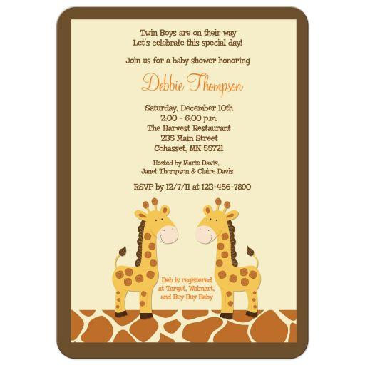 Twin Boy Giraffes Baby Shower Invitation