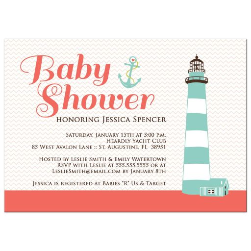 Salmon pink nautical baby shower invitation