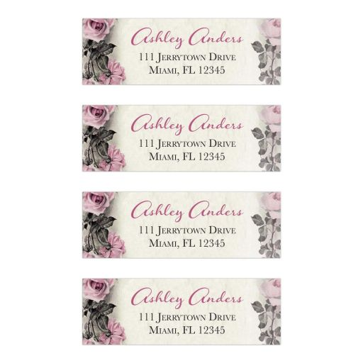 Pink Grey Ivory Vintage Rose Return Address Mailing Labels