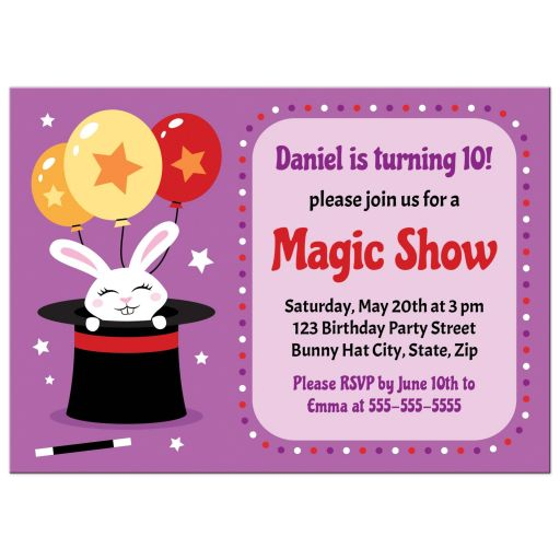 Cute magic show birthday party invite with white bunny sitting in a magicians hat