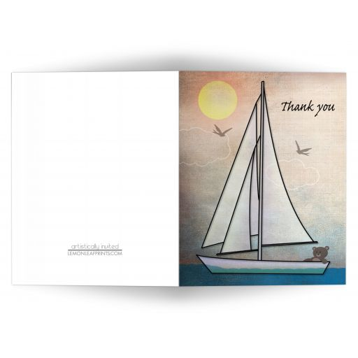 Thank You Cards - Rustic Nautical Teddy Bear Sailboat