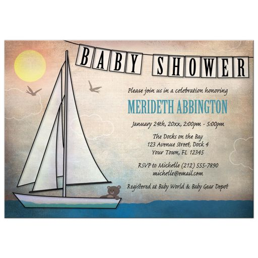 Baby Shower Invitations - Rustic Nautical Teddy Bear Sailboat