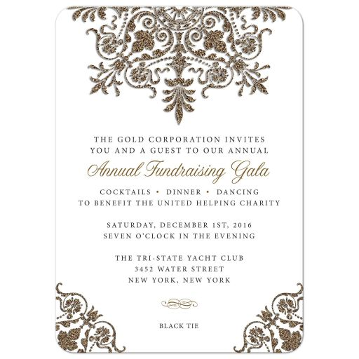 Invitation - Gold Glitter Look Corporate Holiday Office Fundraiser Party