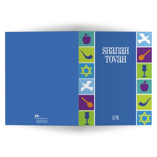 Rosh Hashanah Greeting Card - Jewish New Year Icons