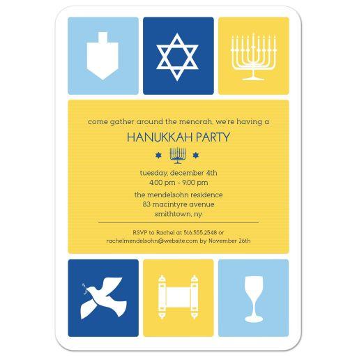 Hanukkah Party Invitation - Simple Icons