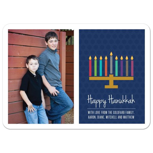 Personalized Hanukkah Photo Card - Dark Blue Pattern Menorah